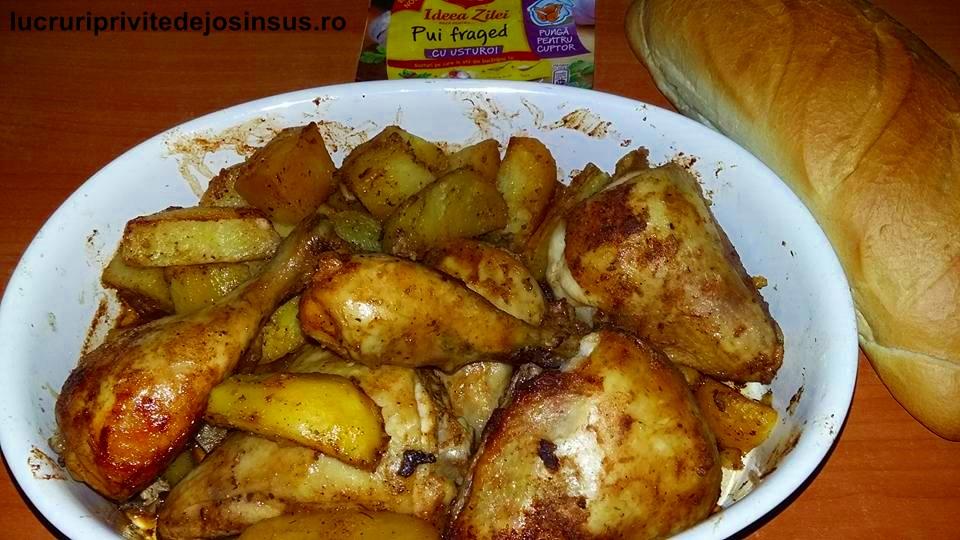 Friptura de pui cu garnitura de cartofi, la cuptor