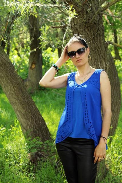 OOTD – Top albastru de pe Dresslily